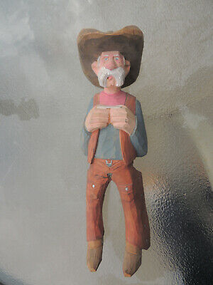 Cowboy wood carving,Caricature,Western carving,Comical,Vintage