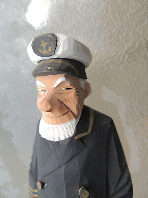 LARGE SIGNED Trygg wood carving,Canada carving,Captain,Caricature,Sweden