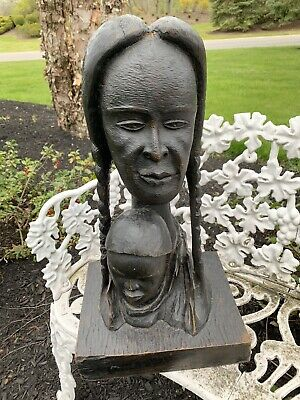 Listed Haitian Artist Roger Francois Wood Sculpture Woman And Child Madonna 21""
