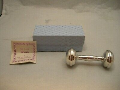 Vintage MARSHALL FIELDS, WEB Silver Co PEWTER BABY RATTLE Dumbbell