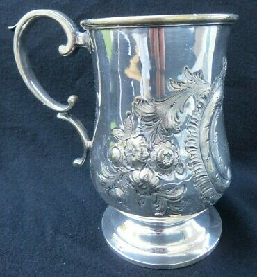 Victorian Silver Plated Christening Tankard Mug w Embossed Floral Sheffield