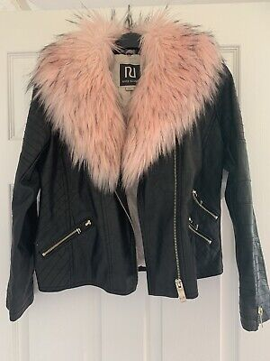 River Island Girls Black Faux Leather Jacket with Pink Fur Trim Age 11 Years