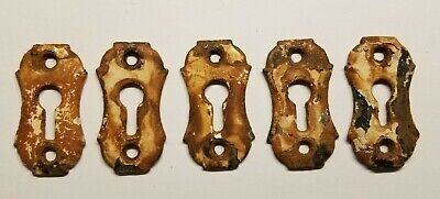 5 Antique Vintage Steel Cast Iron Keyhole Cover Plates Escutcheon Key Hole Old