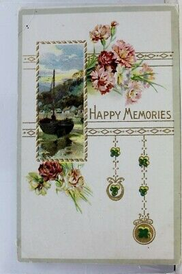 Greetings Happy Memories Postcard Old Vintage Card View Standard Souvenir Postal