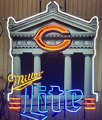 Chicago Bears Soldier Field Miller Lite Neon Sign Very Rare