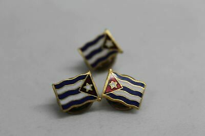 Cuban Flag Pin Pre 1958 Screw Post Clutch Back Original A5B14 Collectible x3