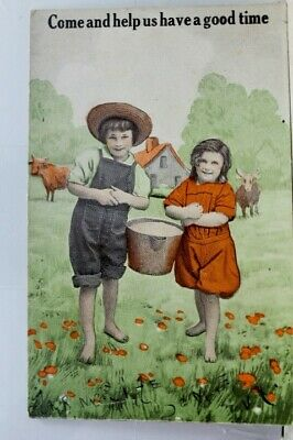 Greetings Come Help Us Have a Good Time Postcard Old Vintage Card View Standard