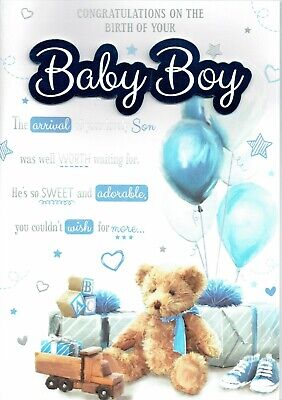 NEW BABY BOY Congratulations Luxury Champagne Greeting Card Hand-Finished  Cards - £4.49   PicClick UK