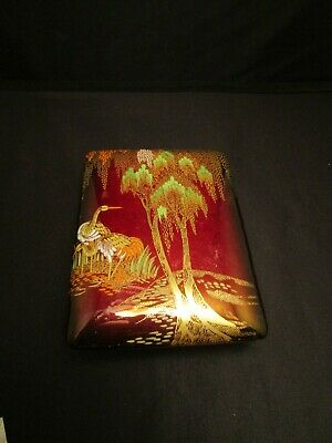 "Carlton Ware ""Rouge Royale"" Willow Design Red and Gold Opalescent Covered Box"