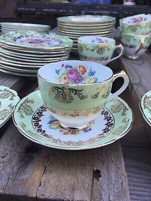 Stanley 52 Piece Fine Bone China Tea Set Green And Gold