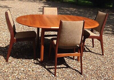 Vintage Extending Ansager Mobler Danish Teak  Dining Table & 4 Chairs