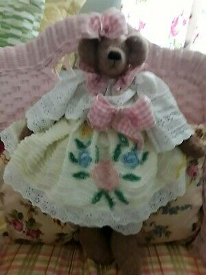 Vintage Chenille & Eyelet  Dress 25In. Lady Teddy Bear All  Handmade