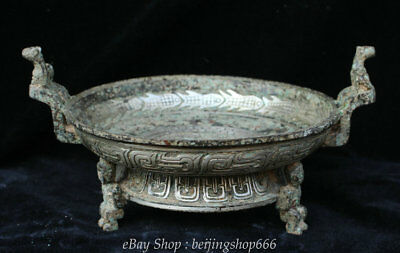 """10"""" Marked Old China Bronze Silver Dynasty Man Legs Handle Vessel Pot Dish Plate"""