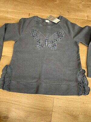 Next Girls Grey Butterfly Sweatshirt Age 9 RRP £17