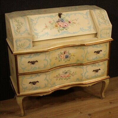 Fore Furniture Secretary Desk Secrétaire Wood Lacquered Golden Painting Antique