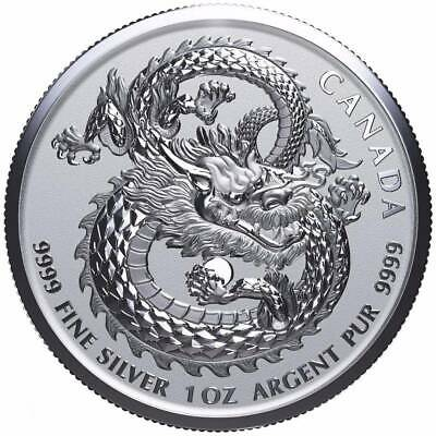 LUCKY DRAGON - 2019 1 oz Pure Silver High Relief Coin in Capsule - Canada RCM