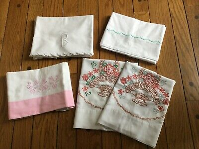 Vintage Lot 4 PAIRS 1940's  Pillowcase Hand Embroidered, Lots of Variety