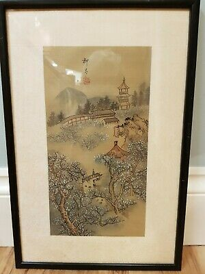 Vintage Japanese Hand Painted Picture, Signed, on Silk - Mountain Scene