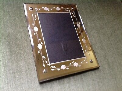 VTG BEVELED MIRROR PICTURE PHOTO FRAME w/ ETCHED FLOWERS & VINES DESIGN 5 X 7
