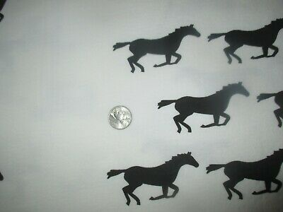 WILD WEST Vintage BLACK RUNNING HORSES On WHITE 1990's COTTON KNIT Fabric-2 yd