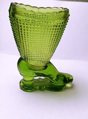 Mini Collectible Green Depression Glass Shoe Boot