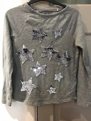 Girls Mini Boden 7-8 Years Sequin Star Grey Top