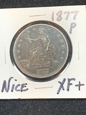 1877-P Trade Silver Dollar ORIGINAL UNCLEANED XF