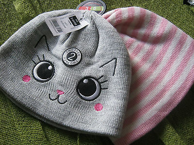 Pack Of Two Girls Hats - One With  With Cat Face Bnwt Dunnes 3-6 Years Pink/Grey