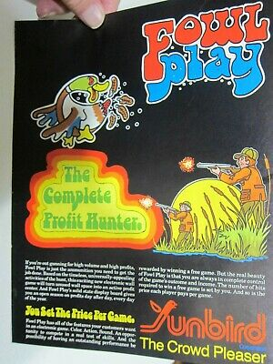 """Vintage Sunbird Corp """" Foul Play """" Arcade Video Game Sales Flyer"""