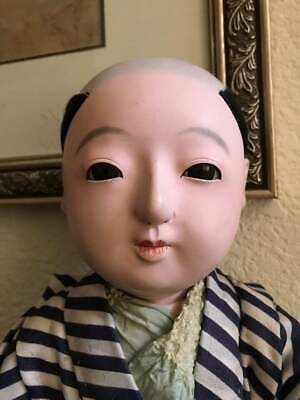Antique Japanese Oriental Ichimatsu Ningyo Chonmage Boy Doll  FREE SHIPPING