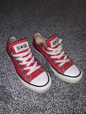 All Star Converse Canvas Shoes Red Size 4 Summer Retro Ladies Children Girls