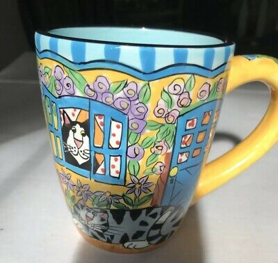 Catzilla Candace Reiter Coffee Mug Cup Cats 2004 Ceramic Hand Pt. 14 Oz Floral