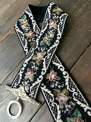 Vintage ANTIQUE Floral Roses NEEDLEPOINT Bell Pull - Victorian Wall Hanging LOOK