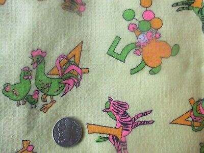 RETRO Vintage PINK GREEN YELLOW NUMBERS On YELLOW 1970's COTTON Fabric-shy 2 yd