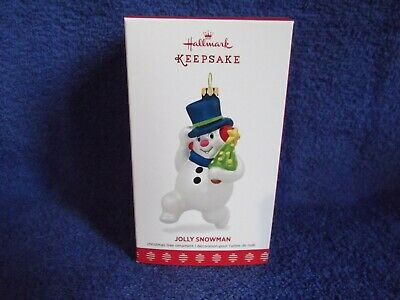 Hallmark 2017 Jolly Snowman Carrying a Tree Glass New