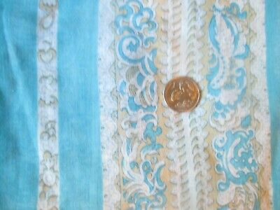 Vintage BLUE WHITE TAUPE FLOWER STRIPES 1970's Sheer COTTON Fabric-over 1 yd