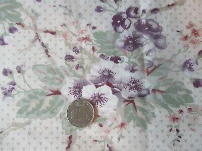 LAURA ASHLEY Vintage PURPLE WHITE FLOWERS 1980's Heavy COTTON Fabric - over 2 yd