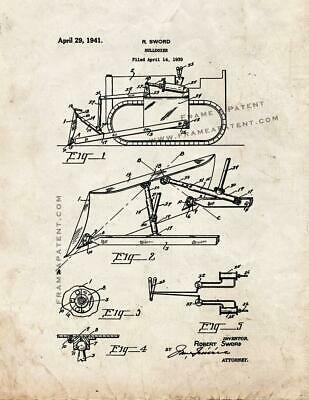 Bulldozer Patent Print Old Look
