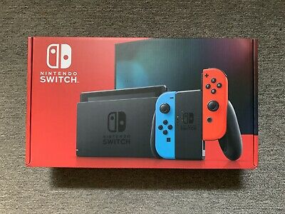 Brand New Nintendo Switch 32GB Gray Console with Neon Red and Neon Blue Joy-Con
