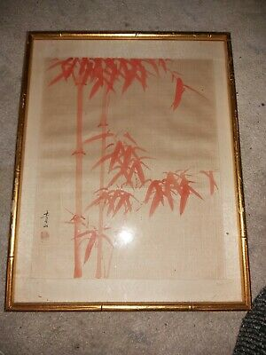 Superb Chinese Japanese Hand Painted Bamboo Signed On Silk 18/19Thc