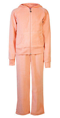 Childrens Velour Tracksuits Hoodys Joggers Set Girls Lounge Suit Peach Age 11-12