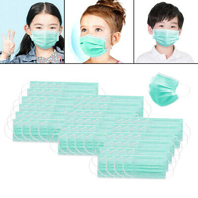 90Set Kids 3-Ply Disposable Face Mask Safety Anti Dust Fog Mouth Shield Filter