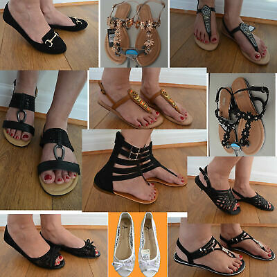 New Primark Ladies Flat Ballerina Pumps Ballet Dolly Womens Black Chain Shoes