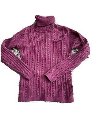 Next Cable Ribbed Polo Neck In Plum / Purple - Age 6-7!
