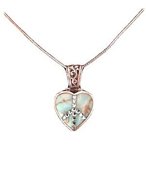 """Sterling Silver Heart Turqoise Swarovski Crystal Pendant 16"""" Peace Sign Necklace"""