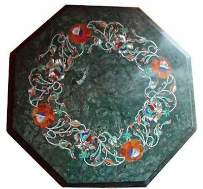 "12"" green coffee corner center side creative inlay stone marble table top"
