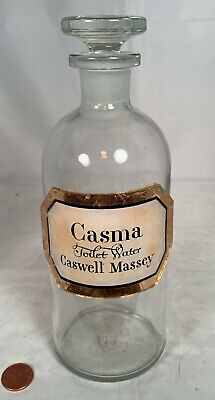 Antique Large Label Under Glass Antique Caswell Massey Casma Apothecary Bottle
