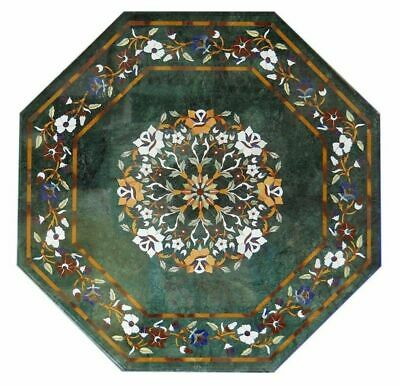 "36"" green marble coffee center table top inlay malachite lapis mosaic item"