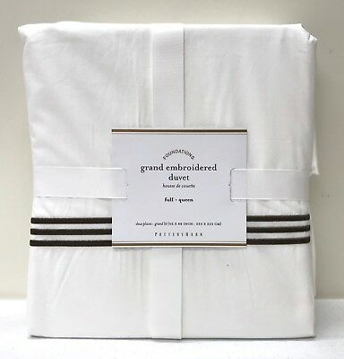 NEW Pottery Barn Grand Embroidered FULL/QUEEN Duvet Cover~Espresso Brown