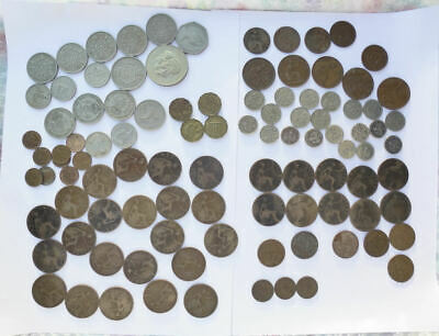 Job lot British Coins Old pennies sixpences farthings three penny half crown